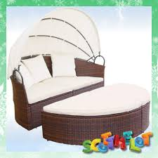 outdoor garden patio circular round rattan canopy sun lounger day