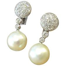 pearl clip on earrings chantecler timeless south sea pearl diamond gold clip