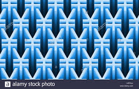 seamless 3d pattern of yen signs in shades of blue and white 3d