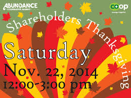 save the date shareholders thanksgiving 2014 abundance food co op