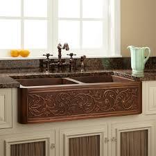 farmhouse layout cabinet two sink kitchen vine design double bowl copper