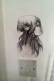 Bedroom Design Drawings Mesmerizing Wall Drawing Ideas By Applying Woman Looks Like Elf