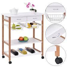 costway rolling wood kitchen trolley cart island storage basket