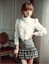 discount women white black satin chiffon ruffle blouse long sleeve