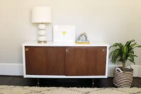 before after lacquer mid century modern credenza makeover