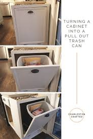 How To Make Pull Out Drawers In Kitchen Cabinets Turning A Cabinet Into A Pull Out Trash Can U2022 Charleston Crafted