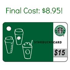starbuck gift card deal hot 15 starbucks gift card just 8 95