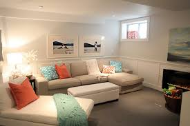bright basement decorating idea with sectional sofa plus comfy