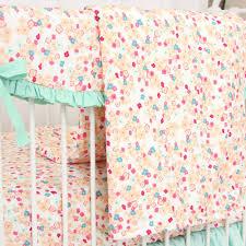Pastel Crib Bedding Mini Floral Mint Pastel Crib Bedding Set By Caden