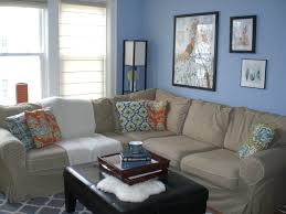 living room blue wall paint ideas for with black leather square