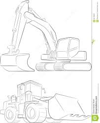 bulldozer u0026 excavator vector line art stock vector image 60790061