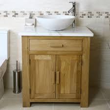 Wooden Vanity Units For Bathroom 50 Oak Vanity Unit With White Marble Top Bathroom Prestige