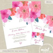 floral invitation watercolour baby shower invitation