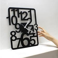 3d digital rectangular wall clock living room art decorative black