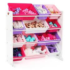4 Tier Toy Organizer With Bins Tot Tutors Friends Collection White Pink Purple Kids Toy Storage