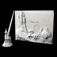 guest book and pen set majestic white cinderella castle guest book pen set