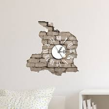 Home Wall Decor by Pag Sticker 3d Wall Clock Decals Breaking Cracking Wall Sticker