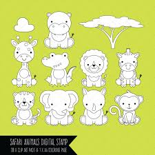 safari baby animals clipart digital stamps coloring page by