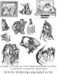 harry potter book 1 chapter 1 vignette drawings