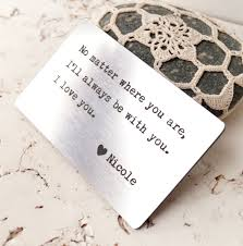 customized anniversary gifts engraved wallet insert card custom wallet insert card