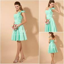 mint green bridesmaid dress mint bridesmaid dresses one bow shoulder a line knee length mint