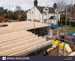 Self Building House First Floor Joists Laid Into Position Stock House Floor Joists Construction