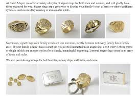 monogram signet ring engrave your crest or monogram into a signet ring at caleb meyer