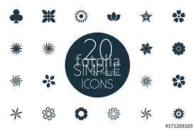 vector illustration set of simple blossom icons elements laurel