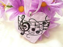 music heart ornament wedding bouquet charm lavender and black