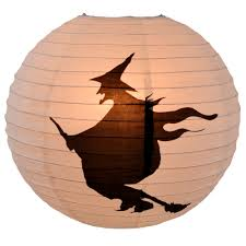 flying witch round paper lantern white black
