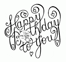 happy birthday to you card coloring page for kids holiday