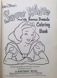 filmic light snow white archive 1952 snow white coloring book
