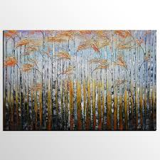 birch tree painting original wall art landscape painting large