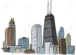 cartoon section of a portion of the skyline of chicago usa stock