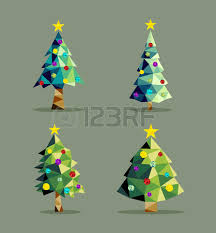 set of pine trees in low poly triangle origami style
