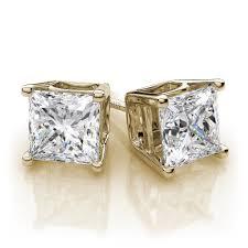 diamond stud earrings for women 2 0 ct t w 4 prong basket princess cut diamond stud earrings
