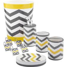 Yellow And Gray Bathroom Accessories by Mainstays Chevron Shower Curtain Hooks Yellow Walmart Com