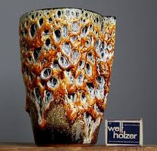 Vase French Vintage 60 U0027s Le Cyclope Annecy Emaux Miel Fat Lava Honey Vase