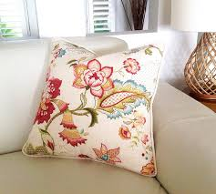 Designer Pillows Linen Cushions Pillows Ophelia Blossom Floral Pillow Ivory
