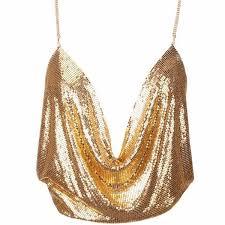 Draped Body Chain Rhinestone Glomesh Draped Top Gold Neck Chain Club Parties And