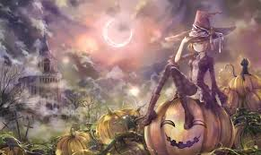 blonde witch anime anime girls halloween castle cat