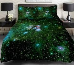outstanding galaxy bedding set in dark green with dark green