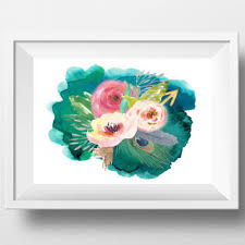 printable large flowers watercolor flower print large floral wall from dorindaart on etsy