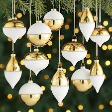 gold white ornaments set of 12 crate and barrel