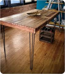 wooden table leg ideas reclaimed wood dining table with hairpin legs pub rustedcreek bar