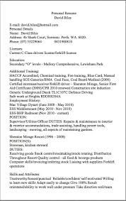 Personal Resume Examples Storeman Resume Examples Personal Resume David Biles E Mail David