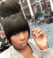 black hairstyles with bun and bangs perfect top knot bun and heavy bangs i created rtinkf hair by