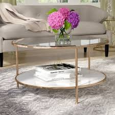 round gold glass coffee table glass coffee tables you ll love wayfair