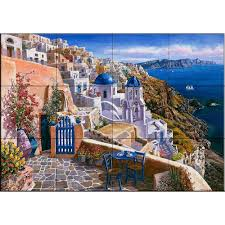 the tile mural store view of santorini 24 in x 18 in ceramic