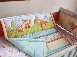 lovely fox baby bedding set crib nursery quilt skirt sheet blanket